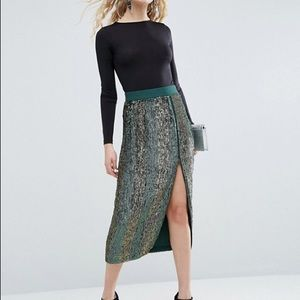 Green sequin pencil skirt from ASOS size US 0